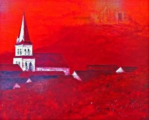 Huile sur toile - Eglise de Chevreuse - 100 x 80 cm